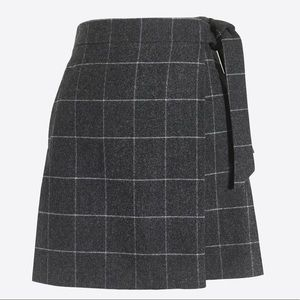 J Crew Gray Plaid Wool Wrap Skirt